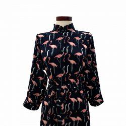 Vestido capa azul oscuro flamencos