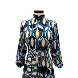 Vestido capa viscosa dibujo geométrico