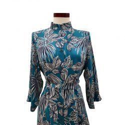Vestido capa viscosa turquesa flores