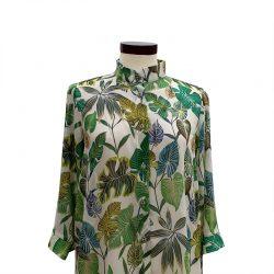 Camisa recta gasa hojas