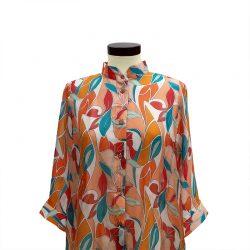 Camisa recta seda estampado geométrico