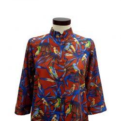 Camisa recta seda estampado pájaros