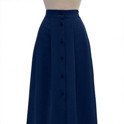 Falda con botones crepe azul