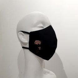 Mascarilla con filtros reutilizable algodón burdeos rosas