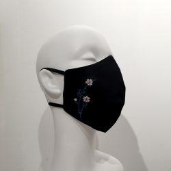 Mascarilla con filtros reutilizable algodón flor rosa y azul