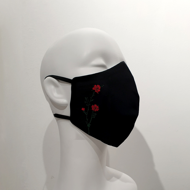 Mascarilla con filtros reutilizable algodón flor roja y verde
