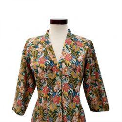 Vestido recto cuello solapa algodón flores