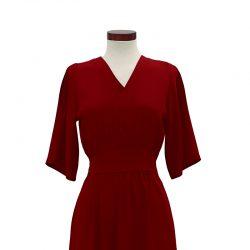 Vestido crepé frunce rojo