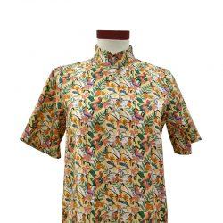 Camisa cuello mao algodón amarilla tropical