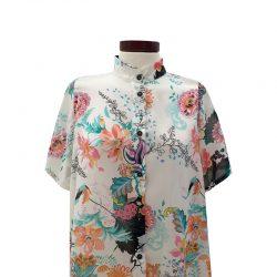 Camisa recta gasa crema hojas pastel