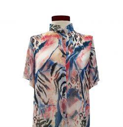 Camisa recta gasa azul rosa-
