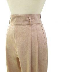 Pantalón pinzas algodón chambray arena