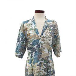 Vestido recto cuello solapa algodón japonés