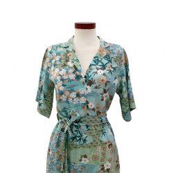 Vestido frunce algodón turquesa japonés