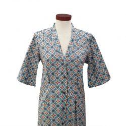 Vestido recto cuello solapa algodón losetado