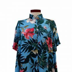 Camisa capa seda zafiro flores