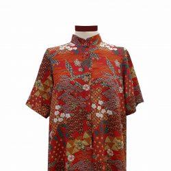 Camisa recta viscosa teja estampado japonés