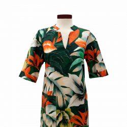 Vestido recto cuello pico algodón hojas