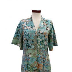 Vestido recto cuello solapa azul viscosa japonés