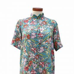 Camisa recta satén azul turquesa flores