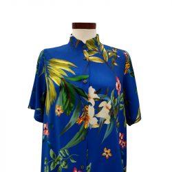 Camisa viscosa azul eléctrico flores