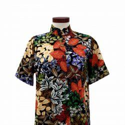 Camisa recta viscosa negra hojas colores