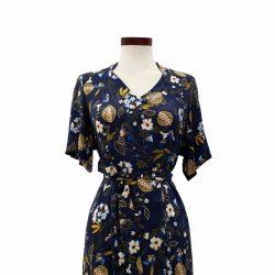 Vestido capa viscosa azul oscuro flores