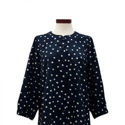 Blusa botones recta algodón azul puntos