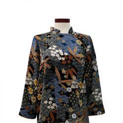 Blusa qipao viscosa negra oriental