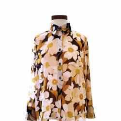Camisa recta gasa margaritas hilo dorado