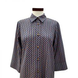 Camisa recta viscosa azul africana
