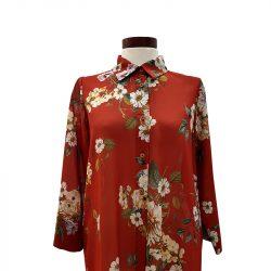 Camisa recta algodón teja flores