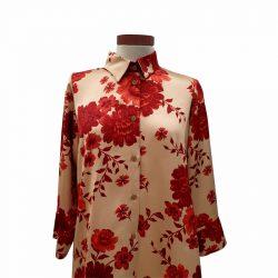 Camisa recta viscosa flores rojas