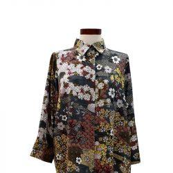 Camisa recta viscosa gris estampado japonés