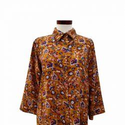 Camisa recta viscosa boho mostaza
