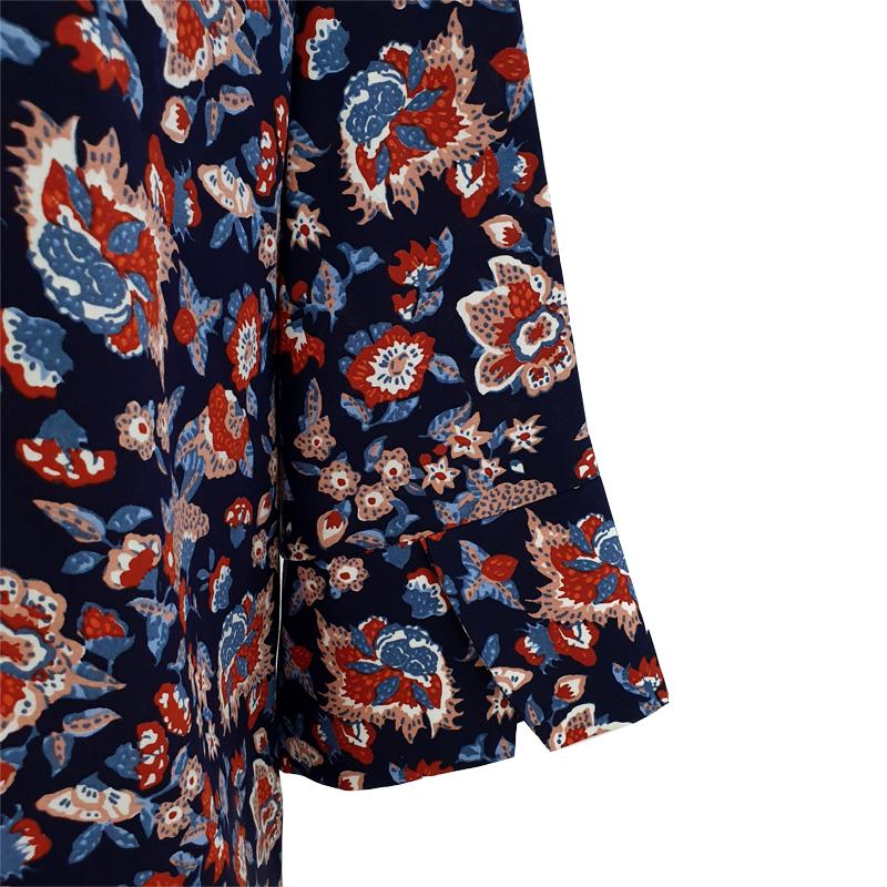 Camisa recta viscosa boho azul