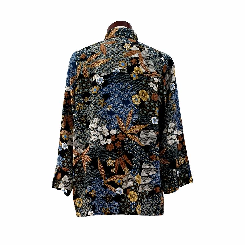 Camisa recta viscosa negra estampado japonés