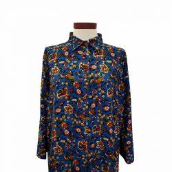Camisa recta viscosa zafiro flores