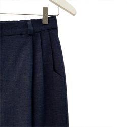 Pantalón pinzas con elástico chambray azul