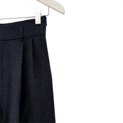 Pantalón pinzas lana fría azul