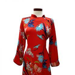 Vestido qipao seda roja flores