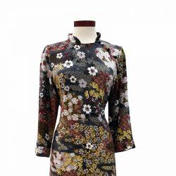 Vestido qipao viscosa gris oriental