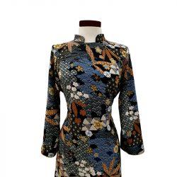 Vestido qipao viscosa negra oriental