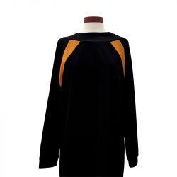 Vestido punto negro-mostaza