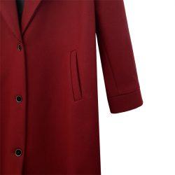 Abrigo solapa lana burdeos