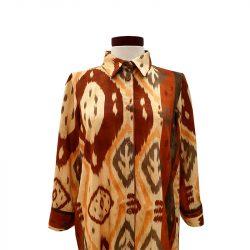 Camisa tablas viscosa mostaza geométrica