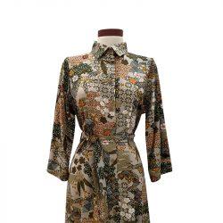 Vestido capa viscosa caqui estampado japonés